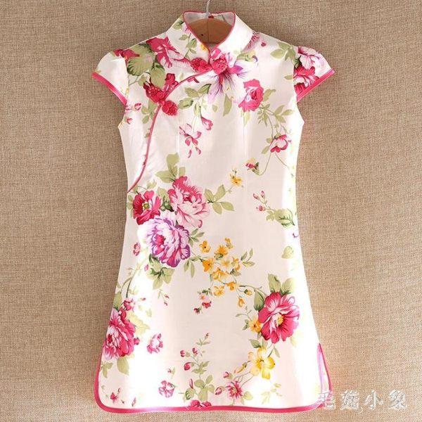 女童旗袍夏季新款中大童中國風連身裙時尚公主風修身洋裝 CJ2326『毛菇小象』