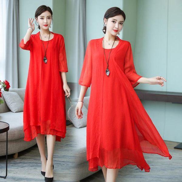 2019夏季新品中國風大碼女裝寬鬆連衣裙時尚氣質雪紡兩件式洋裝