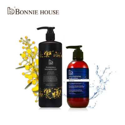 Bonnie House 超水感輕透保濕乳液200ml+幸福朝露精油沐浴膠1000ml