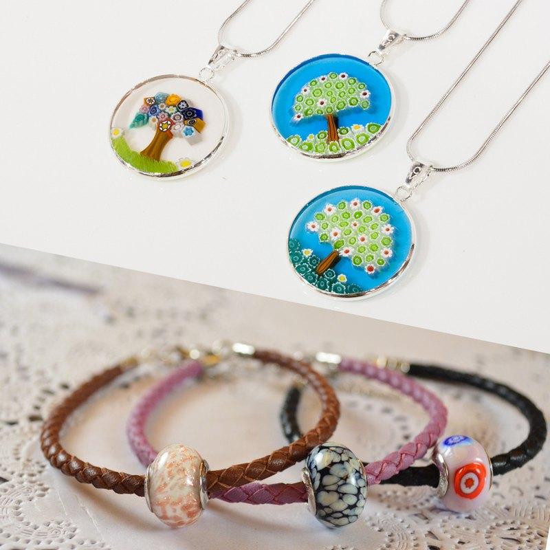 禮物首選【925純銀義大利手工琉璃項鍊組 + Murano潘朵拉琉璃手環】生命樹千花琉璃,每個都是來自威尼斯工匠獨一無二的手作工藝。