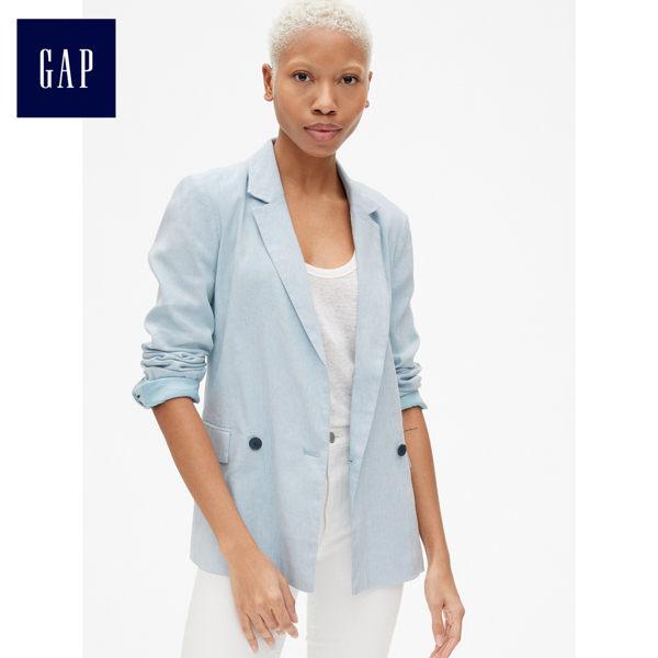 Gap女裝 蔡依林同款休閒亞麻男友風西裝外套 417191-淺藍