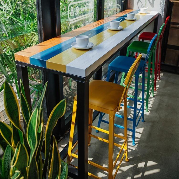 駿涵實木吧台桌靠牆家用星巴克桌椅咖啡廳奶茶店酒吧吧台高腳組合 卡布奇诺hm