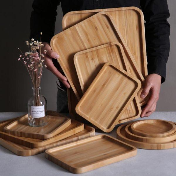 竹制木托盤實木盤長方形竹盤木質托盤圓盤茶盤燒烤小吃蛋糕木盤子