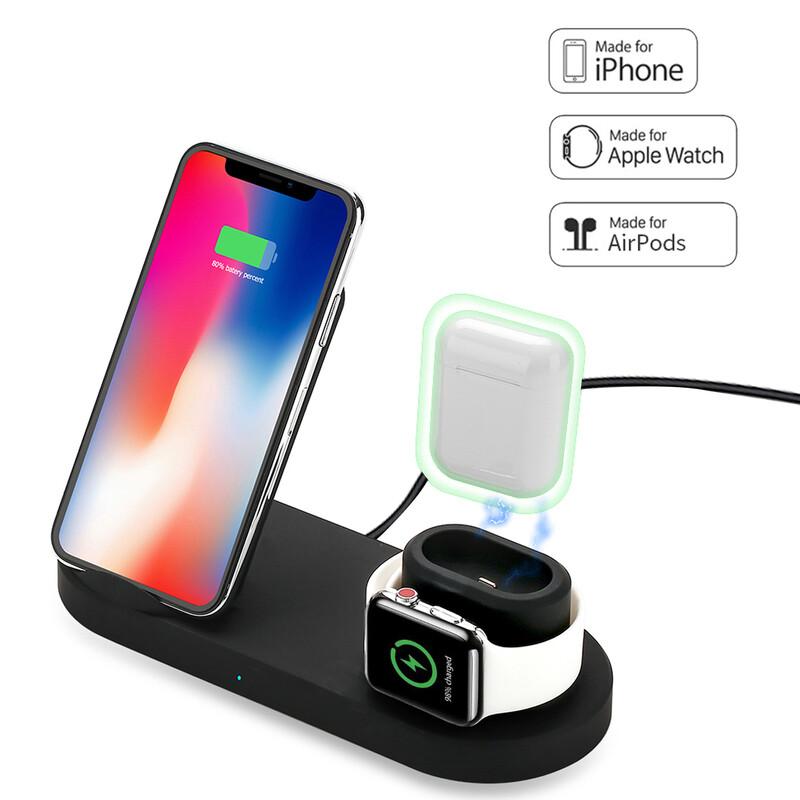 支援iphone11 XS X 8 三星NOTE10 9 8 5 三星 S10 9 8 7 6 無線充電功能讓手機耳機手錶一次搞定 輸入要求:9V-1.67A,必須使用QC2.0/3.0充電器 手機充