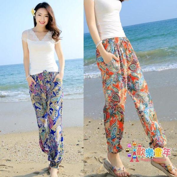 沙灘褲 瑜伽燈籠褲子女夏季波西米亞寬鬆人造棉綢寬廣大象花沙灘長褲 12色