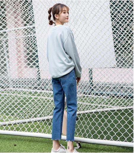 牛仔寬褲 直筒褲女闊腿牛仔褲寬鬆女韓版學生不規則九分褲 瑪麗蘇