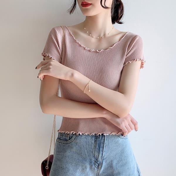 夏季短袖冰絲針織T恤女修身荷葉領木耳邊高腰短款露肚臍鎖骨上衣