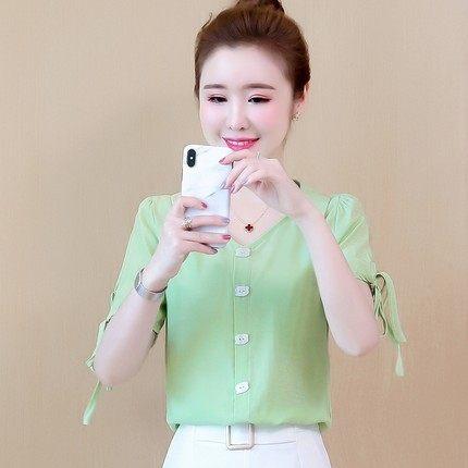 新款韩版短袖雪纺衬衫女夏设计感小众洋气衬衣棉麻料短款上衣