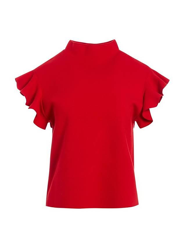 alice + olivia紅色褶襇袖子上衣(互聯網)