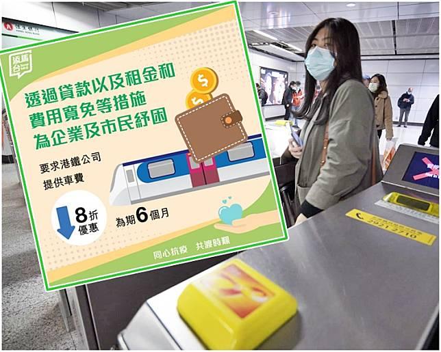 在新措施下,市民由7月起6個月内,乘搭港鐵8折優惠。小圖為fb「添馬台」圖片