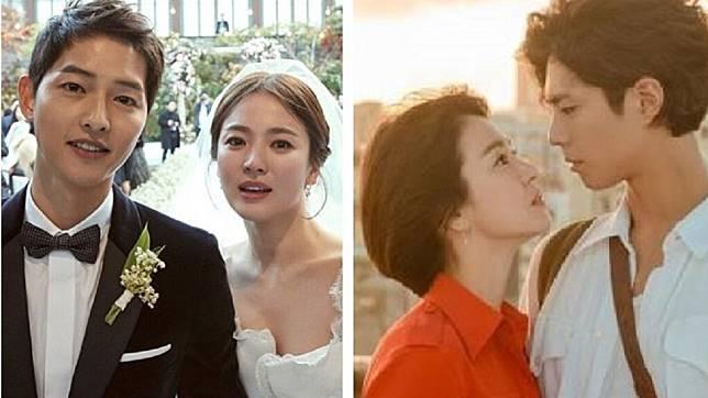 南韓銀色夫妻宋仲基(左圖左)和宋慧喬(左圖右);宋慧喬和朴寶劍(右圖右)拍電視劇《男朋友》。圖/翻攝自微博