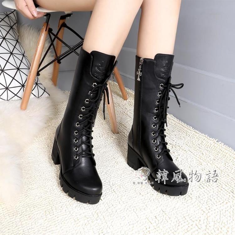 馬丁靴女英倫風粗跟軍靴加絨短靴子女冬季高跟中筒靴高幫棉鞋女靴