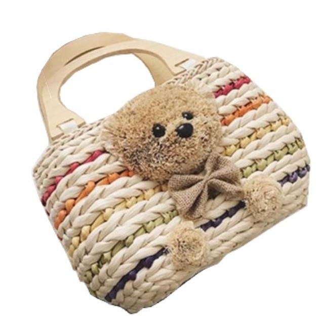 小熊包 / 草編手提包 / 渡假沙灘包 / 編織包 / 藤編包 / 小熊草編包 / 包包【現貨】