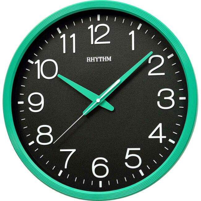 RHYTHM 麗聲鐘(CMG494) 立體數字圓形碧綠色掛鐘/36cm