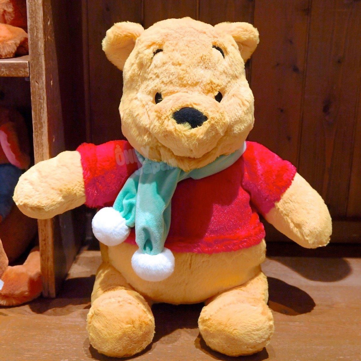 【真愛日本】小熊維尼 pooh 東京迪士尼樂園帶回 擺飾 收藏 娃娃 布偶 401230125745 樂園限定絨毛暖手娃-PH圍巾笑