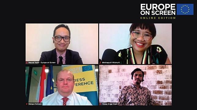 Meninaputri Wismurti (pojok kanan atas) selaku Festival Co-Directors (Foto: dok. Europe on Screen 2021)
