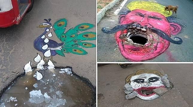 Pelukis Sengaja Jadikan Jalan Berlubang sebagai Kanvas