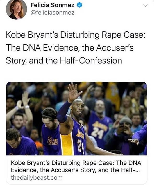 Jurnalis Washington Post, Felicia Sonmez diskorsing lantaran memposting link berita Kobe Bryant memperkosa seorang perempuan pada tahun 2016. [DAILY MAIL]