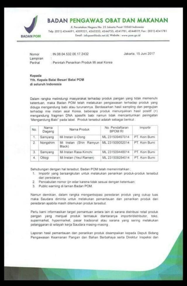 Surat BPOM (Foto: Dok. Istimewa)
