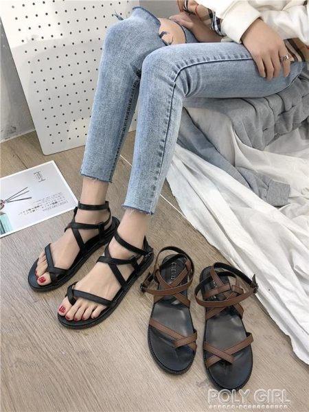 綁帶鞋 涼鞋女仙女風平底2019新款學生網紅羅馬海邊度假綁帶ins潮沙灘鞋 polygirl