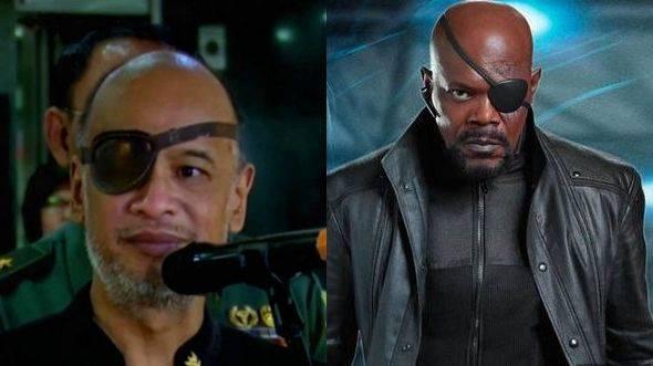 Kolase foto Thareq Kemal Habibie dan karakter Nick Fury di Avengers