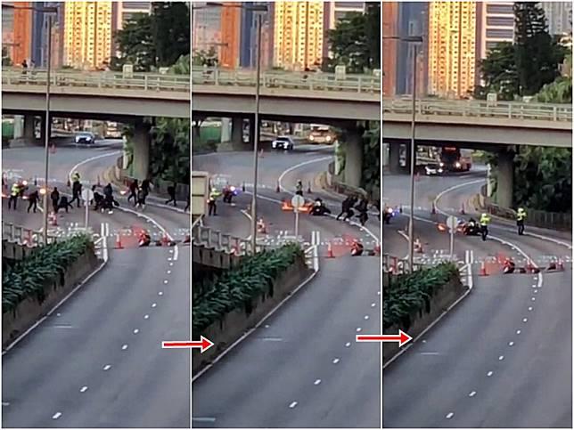 警方指示威者擲3個汽油彈想「攞命」。網上片段截圖