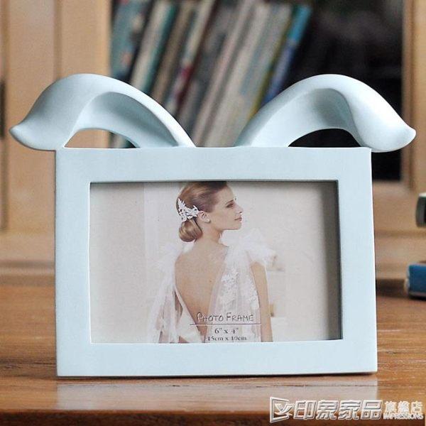 6寸折雙耳兔日式可愛擺台橫款創意樹脂相框BZ1609 印象家品