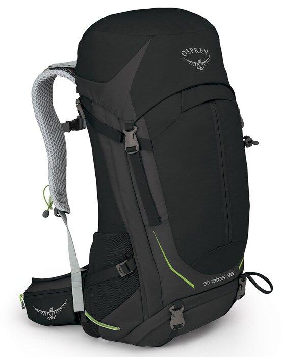 【【蘋果戶外】】Osprey Stratos 黑 M/L 【36L】透氣立體網架健行背包 防水背包套 水袋隔間 緊急哨 雙肩背包 超輕量抗撕裂尼龍布料。人氣店家蘋果戶外用品專賣店的品 牌 專 區、Os