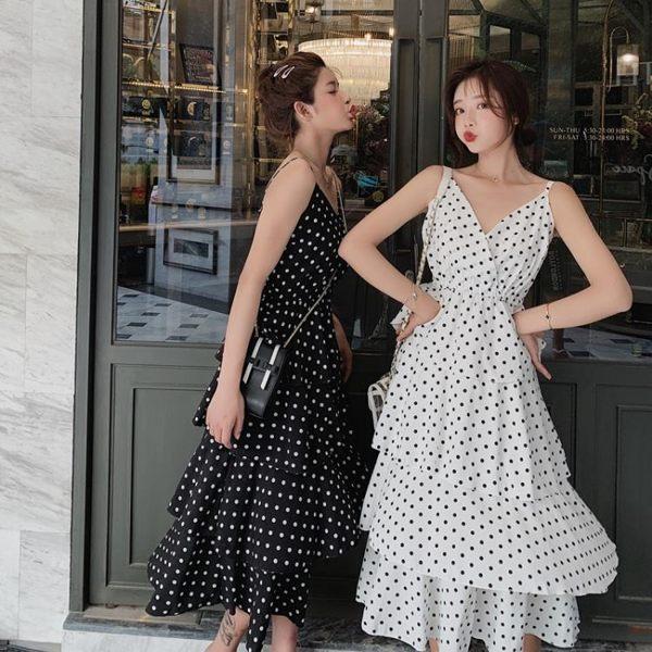 2019 春夏 新 洋裝吊帶連身裙2019新款夏很仙的法國小眾閨蜜蛋糕小清新長裙子超仙女