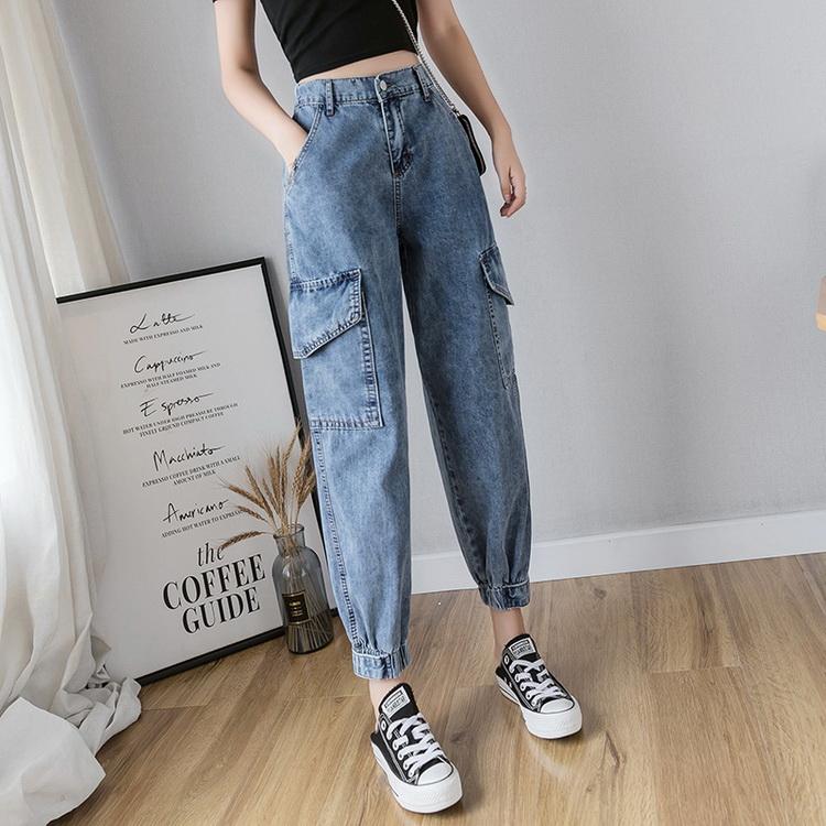 VIVILIAN日系高品質雙口袋休閒寬鬆顯瘦百搭直筒老爹褲/牛仔褲