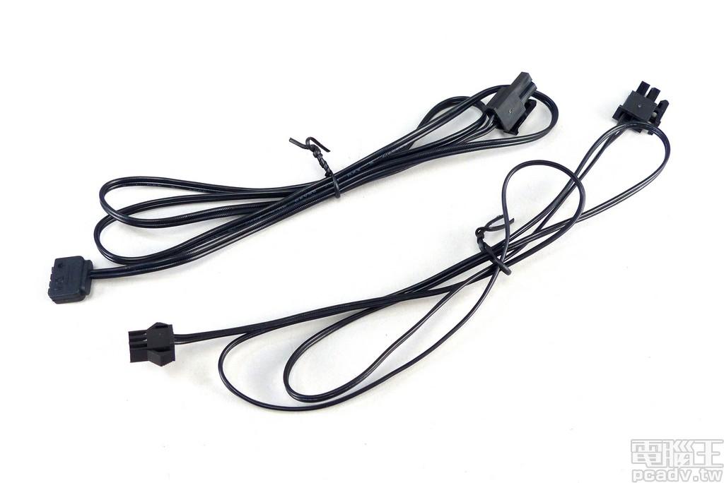 隨包裝附贈 2 條可定址 RGB 訊號轉接線材,相容各大主機板廠與控制器的插座形式