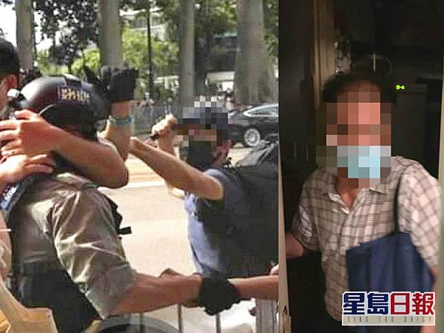疑犯涉嫌持刀刺傷警員被捕,黃父(右)稱不知道兒子參與示威。