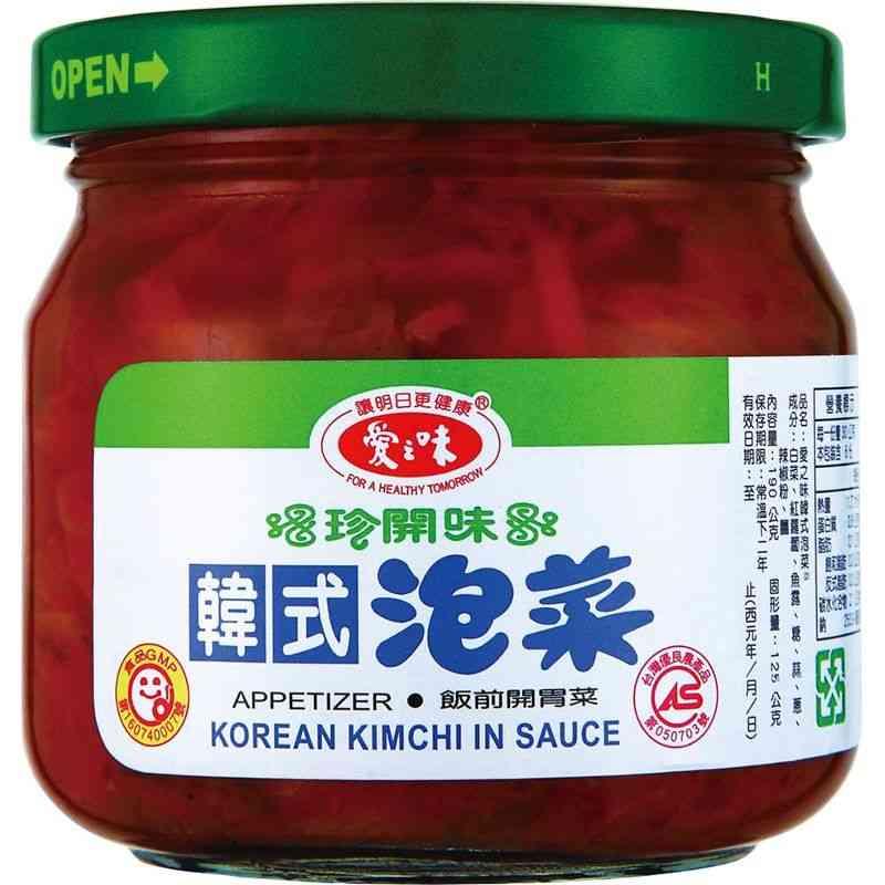 以特選上等白菜,添加韓國辣椒、魚露、蔥蒜等調味料發酵而成,具乳酸發酵之香氣。口味重,開胃性強。產品適用性廣,可直接當開胃菜,亦可加入火鍋料,成韓式泡菜火鍋。天然發酵,釀造特殊酸香風味,且口感青脆爽口,
