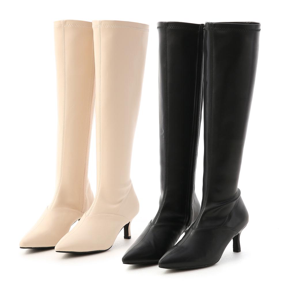 D+AF V字顯瘦剪裁尖頭長靴 膝下靴