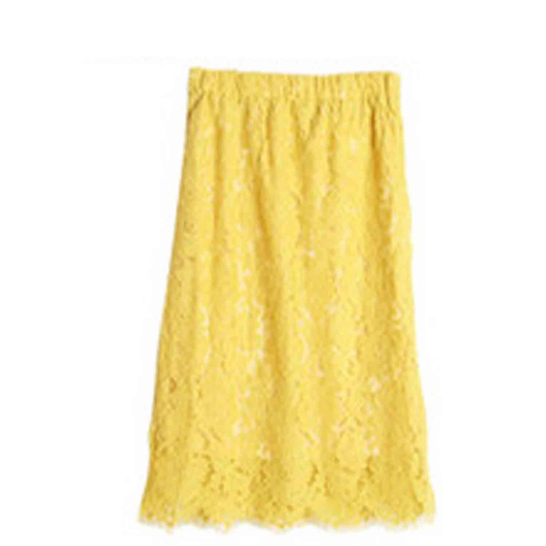 日本服飾代購 - 鏤空蕾絲長裙-檸檬黃 (M(Free size))