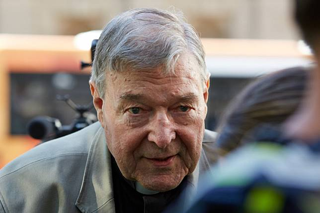 Cardinal George Pell arrives at County Court in Melbourne, Australia, February 27, 2019. AAP