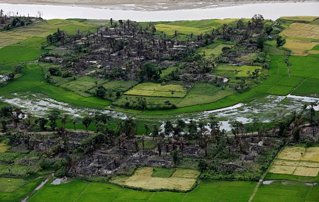 Aerial view of a burned Rohingya village near Maungdaw, north of Rakhine State, Myanmar, September 27, 2017.