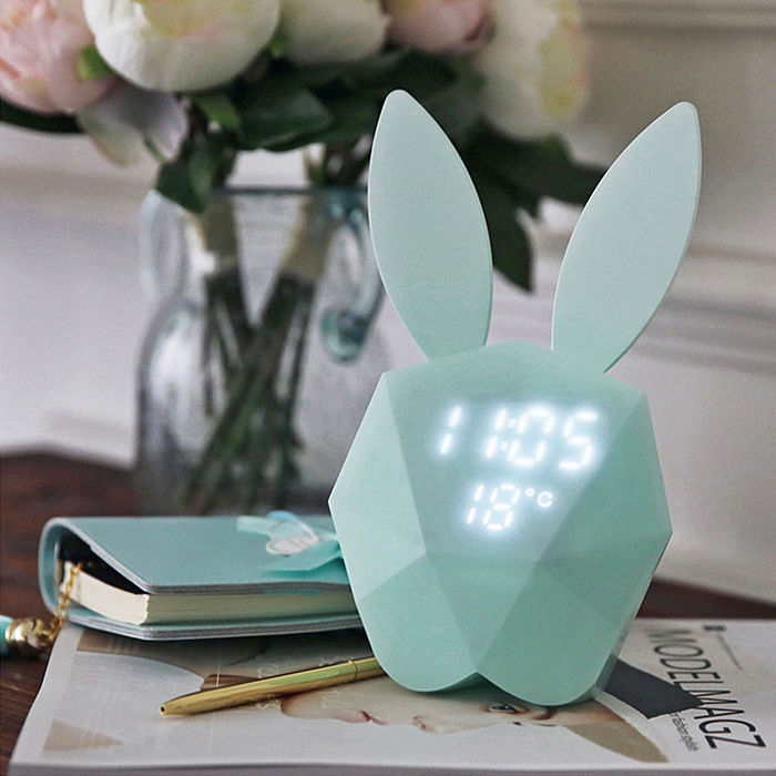 咪兔聲控鬧鐘/LED夜燈/時鐘 智能聲控 USB充電 [雙11]粉色