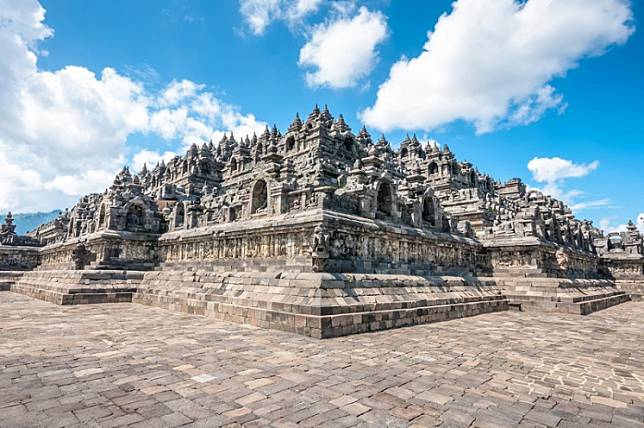 The Buddhist temple of Borobudur in Magelang, Central Java.
