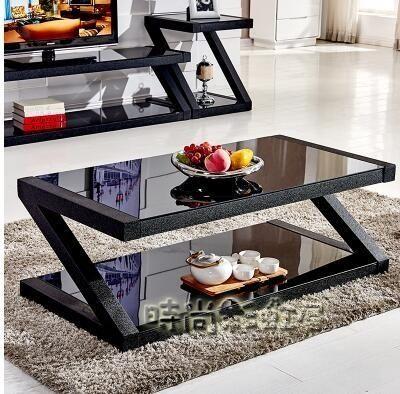 茶幾簡約客廳茶桌黑色鋼化玻璃茶幾餐桌兩用長方形創意小茶幾桌子MBS「時尚彩虹屋」
