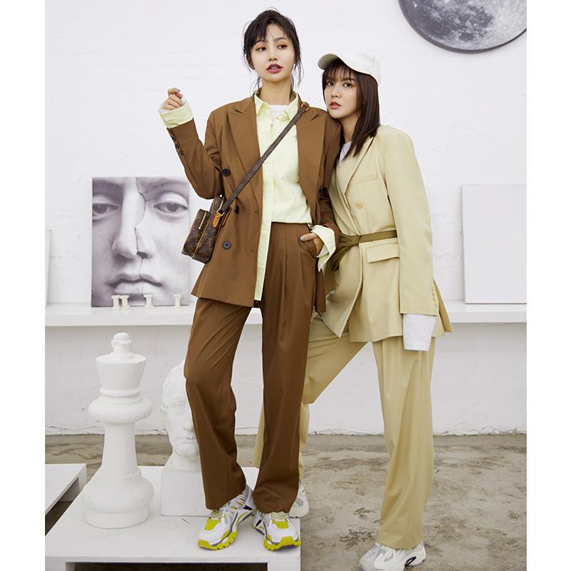 韓火火donottag 2019春裝新款韓版復古寬鬆休閒西裝褲套裝情侶女
