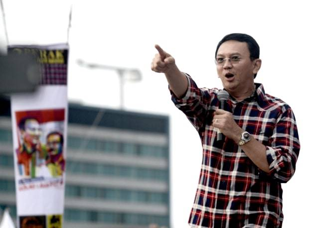 Mantan Gubernur DKI Jakarta Basuki Tjahaja Purnama saat kampanye pada 11 Februari 2017. Foto: AFP