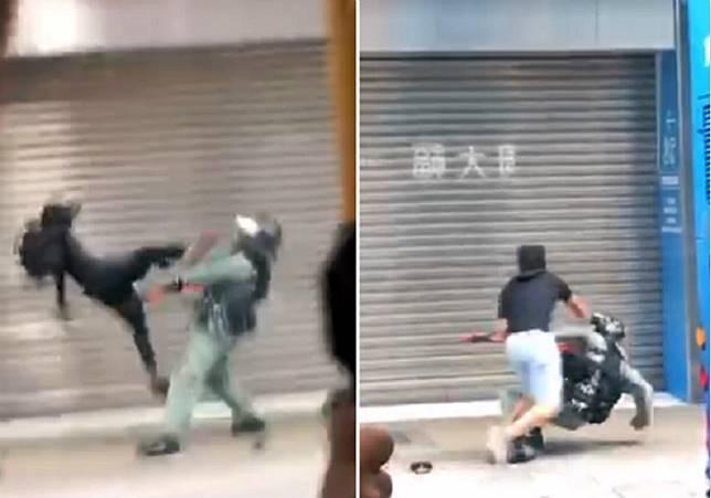當日殆警員被示威者飛踢倒地。電視截圖