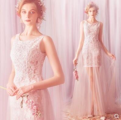 M-天使嫁衣 仙美公主 新娘旅拍外景海邊戶外拖尾輕婚紗 907t