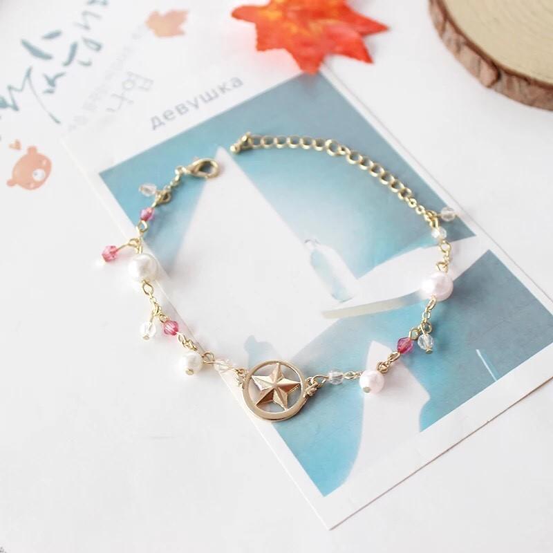 日系美少女戰士星星翅膀珍珠手鏈 手鍊鎖骨鍊項鍊長鍊金鍊銀鍊 金飾銀飾墜飾