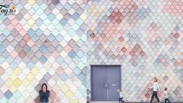 人大了美人魚衣服不敢穿,但是拍美人魚牆總可以吧!「倫敦知名美人魚牆」彩色鱗片成為打卡熱點!