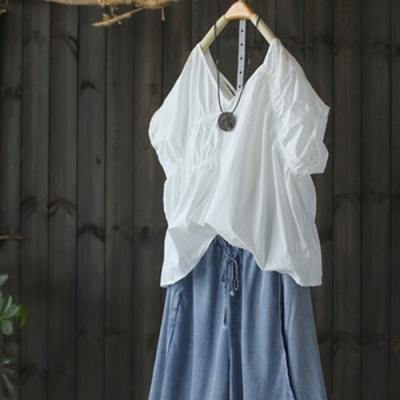 可外穿可內搭蝙蝠袖錦棉白T恤上衣-設計所在