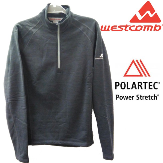 Westcomb 保暖刷毛衣/中層半門襟/ Power Stretch 長袖/登山/健行/旅遊 Sphere 男款 灰色