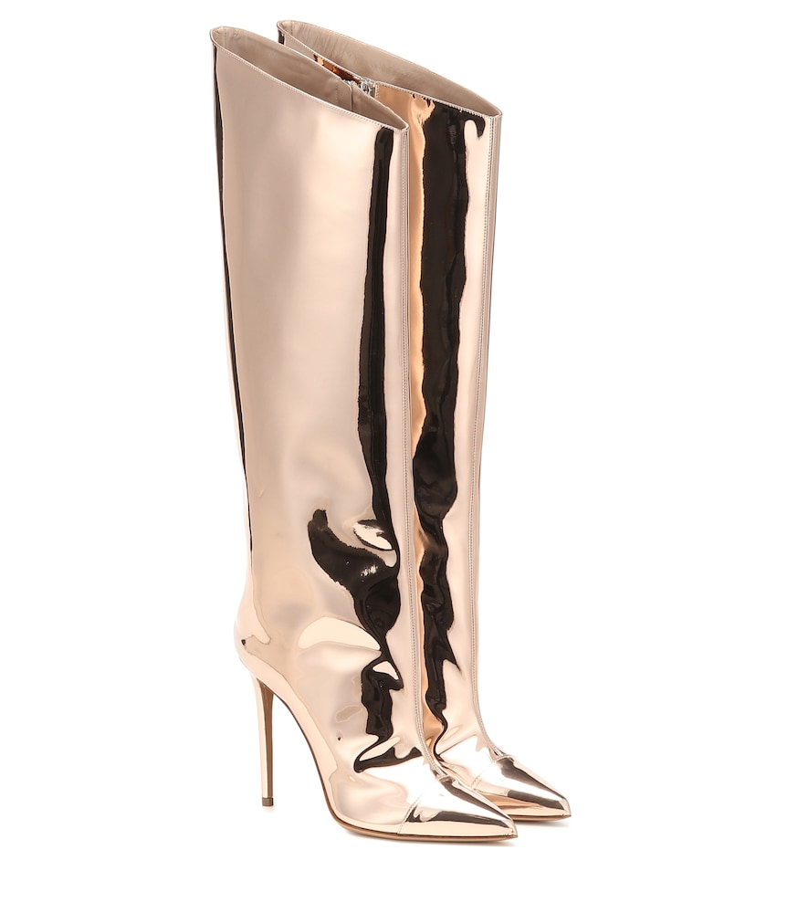 Alexandre Vauthier is not a brand to hold back on opulence, as these mirrored boots prove.