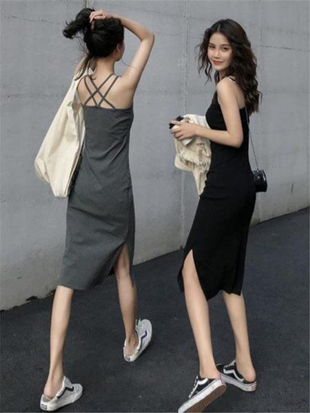 吊帶裙夏季新款打底一步裙女圓領交叉美背側開叉修身中長款吊帶連身裙子 伊羅鞋包